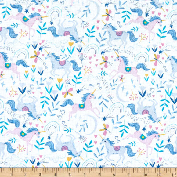 Dear Stella - Love Potion # 9 - Unicorn Romp - White / Pink / Blue - Cotton Fabric - 1/2 Yard