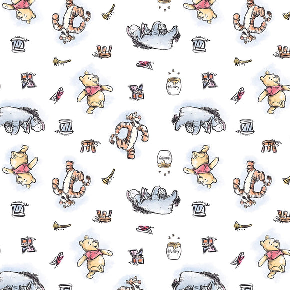 Disney - Pooh And Friends - Springs Creative - Nursery - Cotton Fabric - 1/2 Yard
