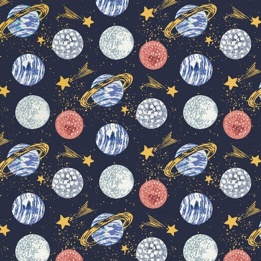 Space - Midnight - Digital Print - Poppy - GOTS Certified Organic Cotton Jersey Knit - 1/2 Yard