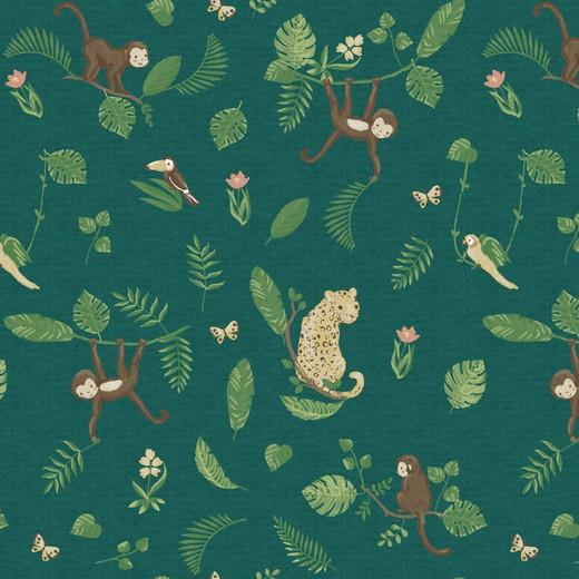 In the Jungle - Green - Digital Print - By Poppy - GOTS Certified Organic Cotton Euro Jersey Knit - 1/2 Yard