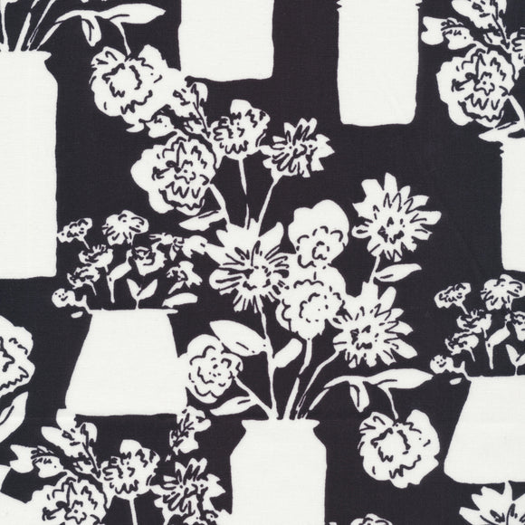 Cloud9 Fabrics - Organic Quilting Cotton Fabric - To Market, To Market - Black Bouquets - GOTS - 1/2 Yard