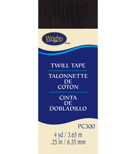 6mm Herringbone Twill Tape Polyester - Black - 3.7M Package