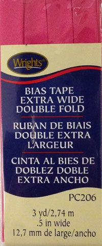 Wrights Bias Tape Double Fold 6mm x 3.7M Berry Sorbet #1232