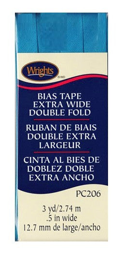 Wrights Bias Tape Extra Wide Double Fold 13mm x 2.75M Turquoise