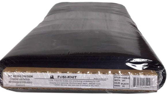 HTC Fusi-Knit - Fusible Tricot Knit Interfacing - Black - 20