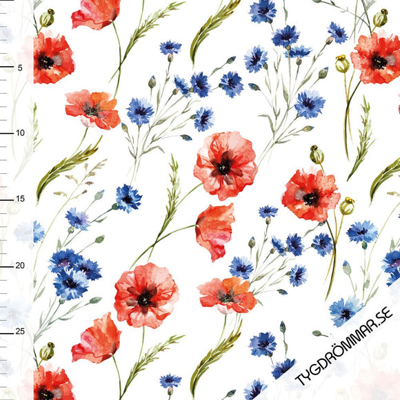 Summer Poppies - Tygdrommar - Floral GOTS certified Organic Cotton Jersey Knit - 1/2 Yard