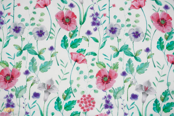 Wild Flowers - Digital Print - By Poppy - GOTS Certified Organic Cotton - Euro French Terry Knit - 1/2 Yard