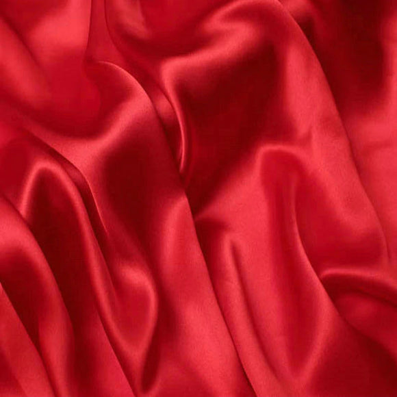 Stretch Silk Charmeuse Red 19 Momme - Crepe Back Silk Satin 19mm - 1/2 yard
