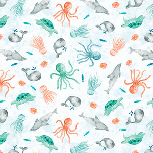 Wilmington Prints - Whaley Love - White Scenic - Sea Creatures - 1/2 Yard