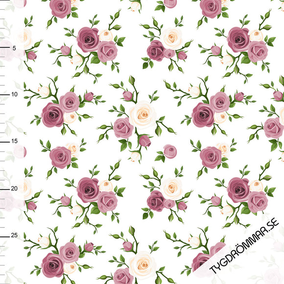 Tygdrommar - Ella - Old Rose - Floral GOTS certified Organic Cotton Jersey Knit - 1/2 Yard