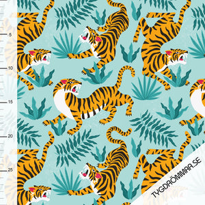 Tiger - Blue - Tygdrommar - GOTS Certified Organic Cotton Jersey Knit - 1/2 Yard