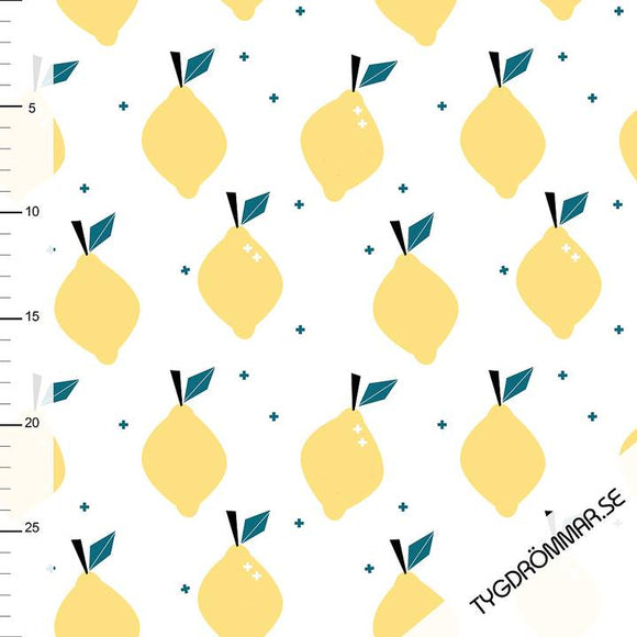 Lovely Lemons - Yellow - GOTS Certified Organic Cotton Jersey Knit - 1/2 Yard