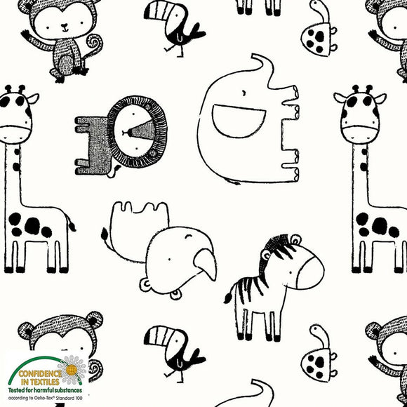 Stof - Zoo Animals - Black and White - Cotton Stretch Jersey - 1/2 Yard