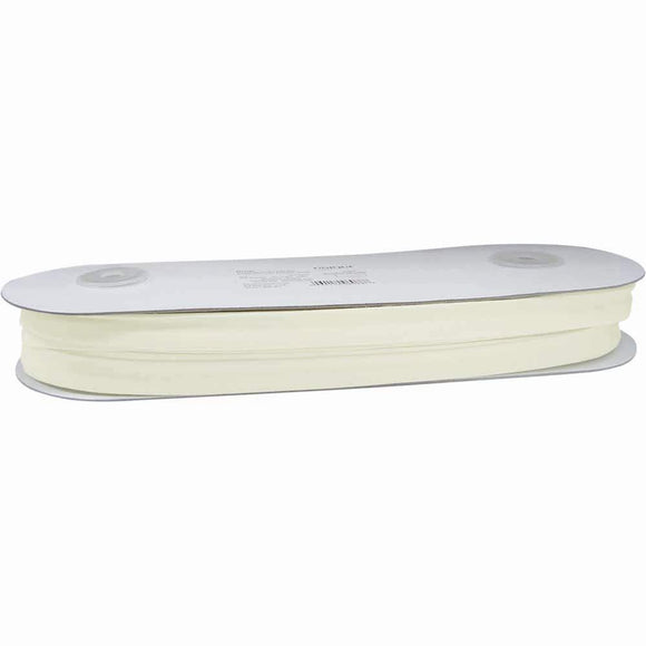Bulk Extra Wide Double Fold Bias Tape 16mm - Ivory 25 Meters Full Roll 1/2 Inch