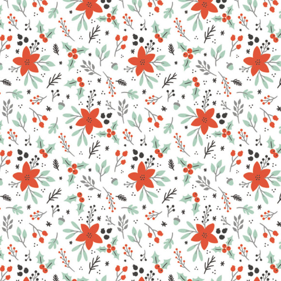 Camelot Fabrics - Reindeer Lodge - Winter Florals  - Poinsettia & Holly - Red & White - 1/2 Yard