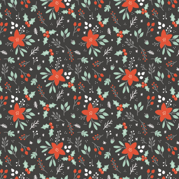 Camelot Fabrics - Reindeer Lodge - Winter Florals  - Poinsettia & Holly - Red & Charcoal - 1/2 Yard