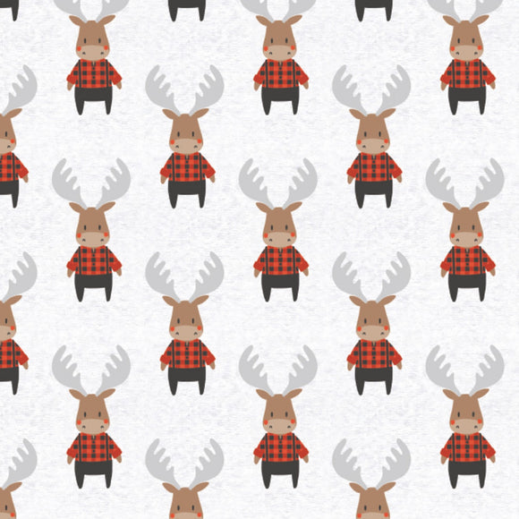 Camelot Fabrics - Reindeer Lodge - Lumberjack Moose  -  Red & White - 1/2 Yard
