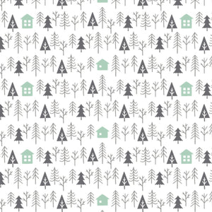 Camelot Fabrics - Reindeer Lodge - Cabin in the Woods -  Green & White - 1/2 Yard