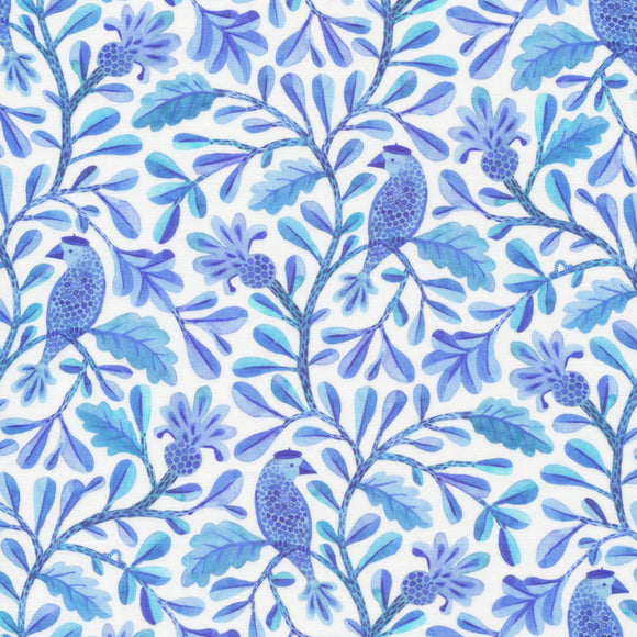 Cloud9 Fabrics - Organic Quilting Cotton Fabric - Birds and Branches - Henri Blue - GOTS - 1/2 Yard