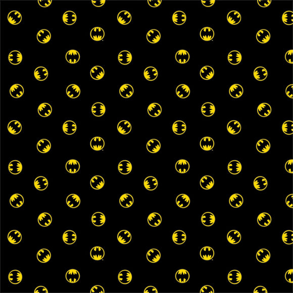 DC Batman Logo 80th Anniversary - Cotton Fabric - Camelot - Black - 1/2 Yard