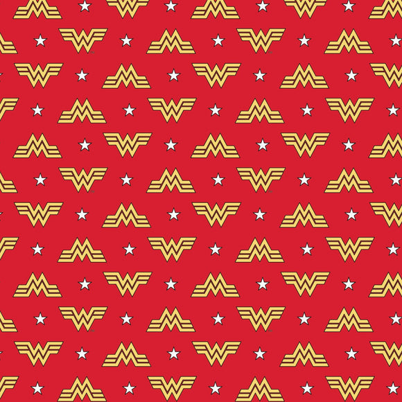 Wonder Woman 1984 Logo & Stars Cotton Fabric - Camelot - Red - 1/2 Yard