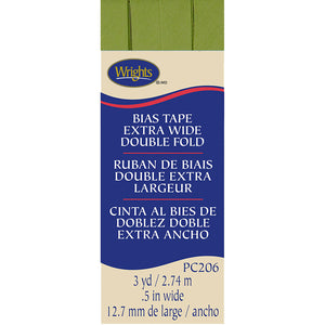 Wrights Bias Tape Extra Wide Double Fold 13mm x 2.75M Leaf Green #922