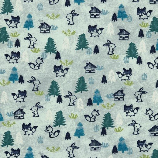 Woodland Animals - Blue - Poppy - GOTS Certified Organic Cotton Jersey Knit - 1/2 Yard