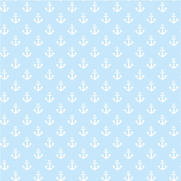 Anchors - Nautical Blue - European Import Cotton Jersey Knit - 1/2 Yard