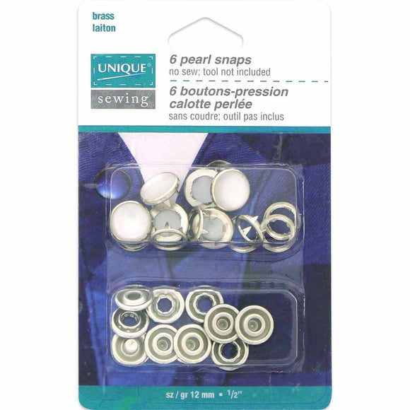 Pearl Snaps White - 12mm (1⁄2″) - 6 sets