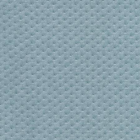 Lecien Japan - Dancing in the Blossoms - Shells - Cotton Fabric - Blue - 1/2 Yard