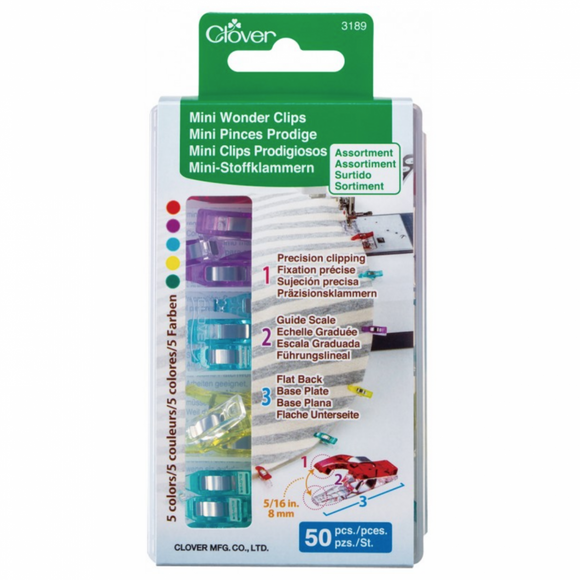CLOVER - Mini Wonder Clips - Assorted Colours -  50 Count 50Pcs