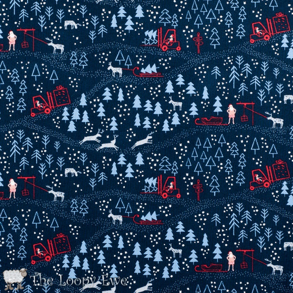 Dear Stella Designs - North Pole After Dark - Blue Multi - Cotton Fabric - 1/2 Yard