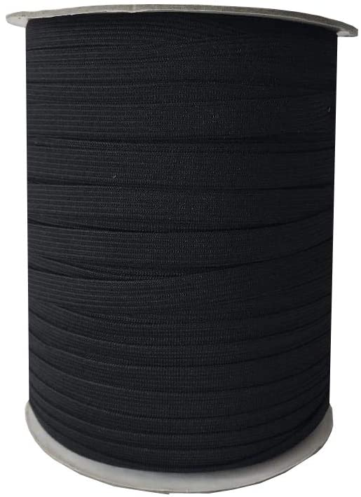 10mm (3/8'') Soft Knitted Elastic - Black - Select Length