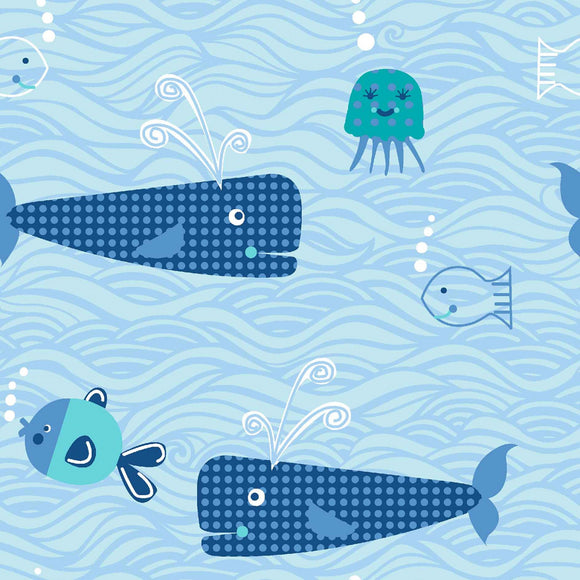 Sea the Sea Whale Toss - Whales & Sea Creatures - Quilting Cotton Fabric - 1/2 Yard
