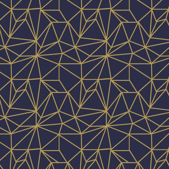 Camelot Fabrics - Written in the Stars - Moondust - Tiled  - Metallic Gold - Midnight Navy - 1/2 Yard