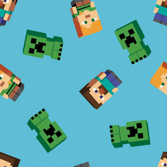 Minecraft - Friends - Springs Creative - Blue and Green - Cotton Fabric - 1/2 Yard