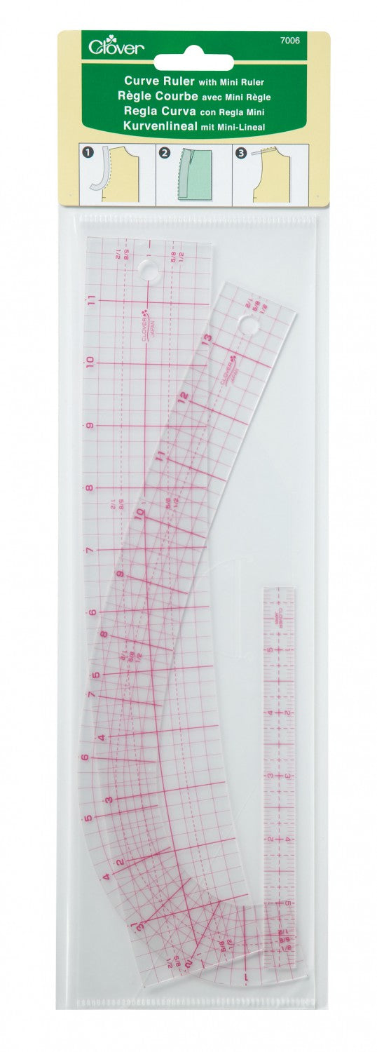 Clover - Curve Ruler Set - French Curve,  Hip Curve, and Mini Ruler
