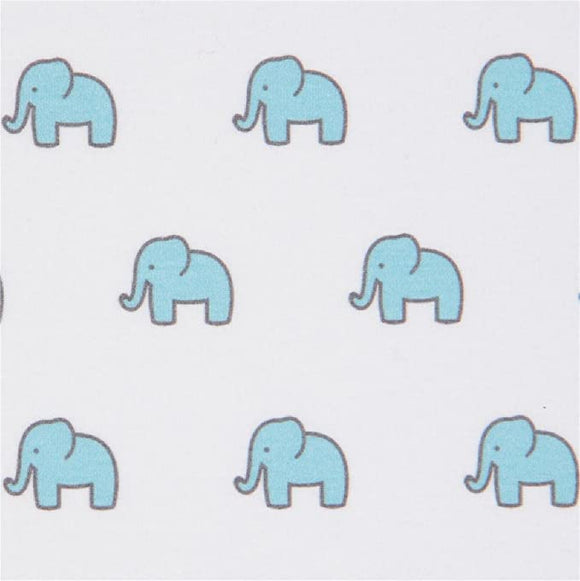 Robert Kaufman - Little Safari - Marching Elephants - Baby Blue  - Jersey Knit 1/2 Yard