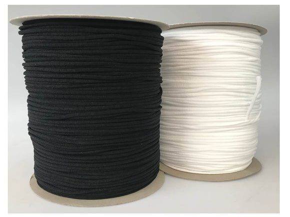 Full Spool 3.2mm Round Soft Knit Latex Free Nylon PPE Earloop Elastic - Black Or White - 200 Meter Spool