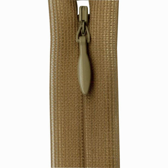 Invisible Closed End Zipper 23cm (9″) - Taupe Brown