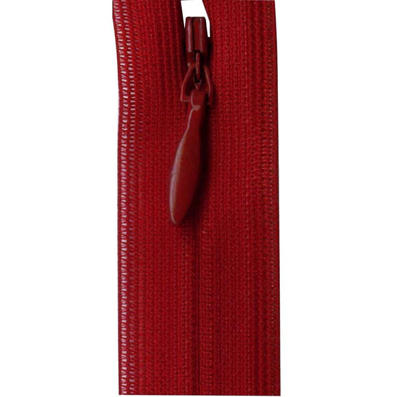 Invisible Closed End Zipper 23cm (9″) - Maroon