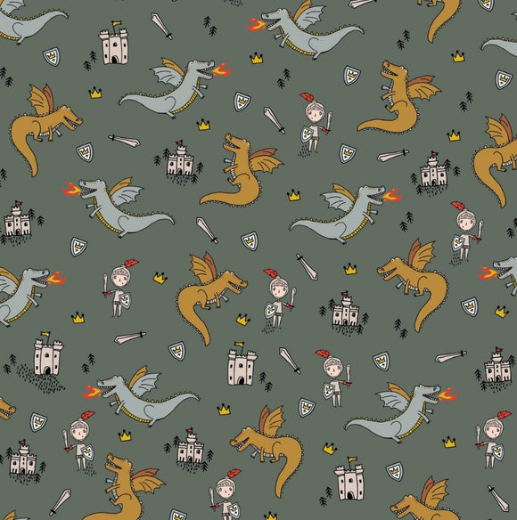 Dragons - Green - By Poppy EU - Cotton Poplin - 1/2 Yard