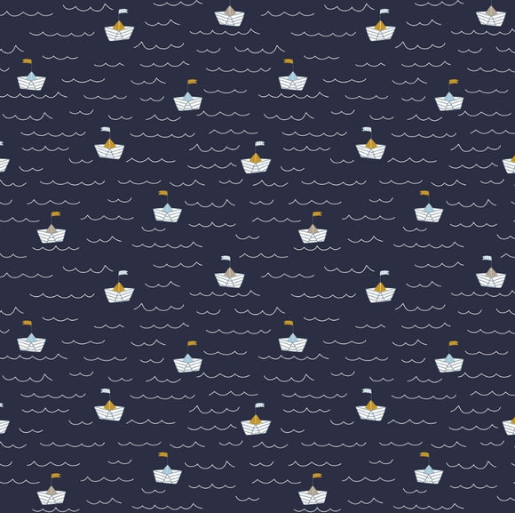 Maritime - Boats - A Day at the Beach - Navy - By Poppy EU - Cotton Poplin - 1/2 Yard