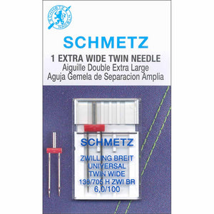 Schmetz #1776 Extra Wide Twin Needle Carded - 100/16 - 6.0mm
