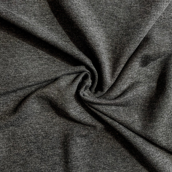 Bamboo/Cotton Stretch French Terry - Charcoal - 1/2 Yard