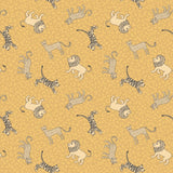 Lewis & Irene - Panthera - Little Big Cats on Yellow - Cotton Fabric - 1/2 Yard