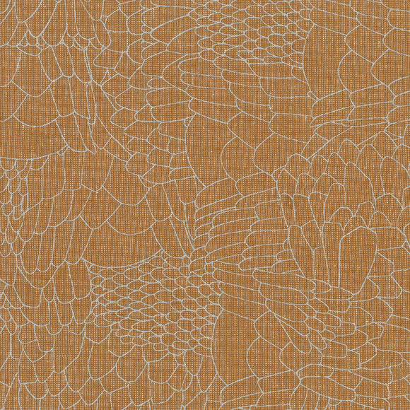 Robert Kaufman Polk - Feather - Roasted Pecan - Printed Linen by Carolyn Friedlander - 1/2 Yard