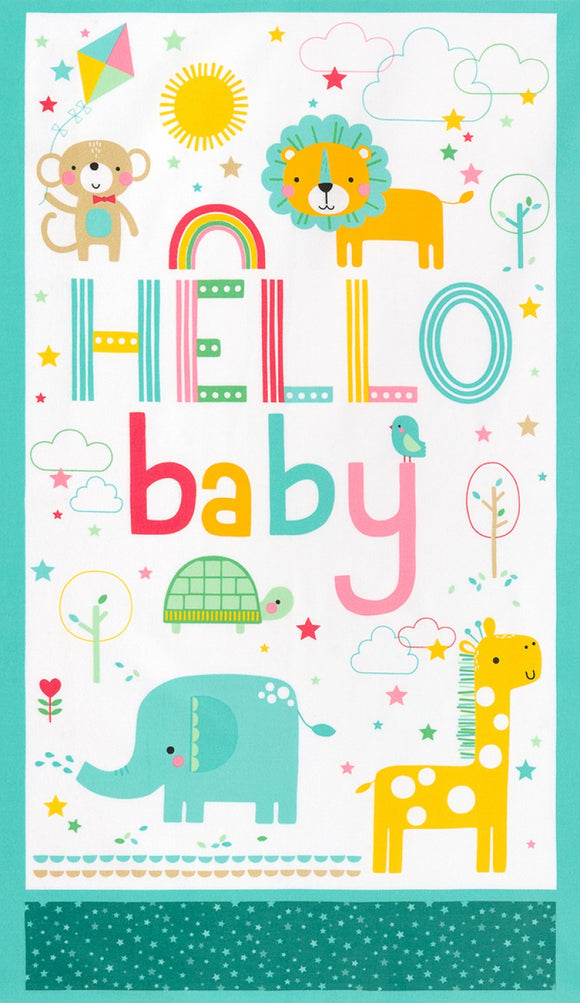 Robert Kaufman Welcome Baby Flannel Fabric - Zoo Animals - Multi  - Sold per 24
