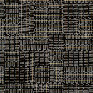 Robert Kaufman - Wayside - Geo Lines - Black Metallic  - 1/2 Yard