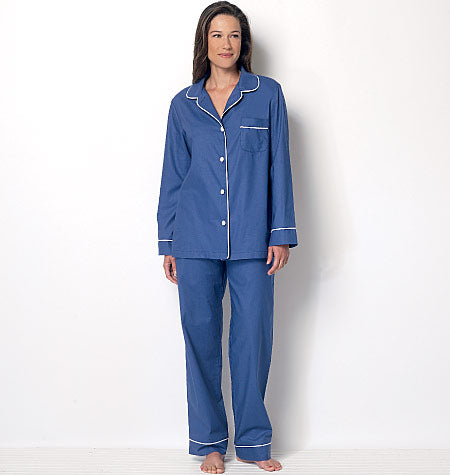 Butterick - B6296 Misses' Button-Down Tops, Elastic-Waist Shorts and Pants (sizes 6-8-10-12-14)